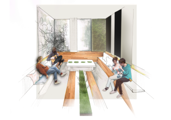 Well-being centre: Conversation area near juice bar